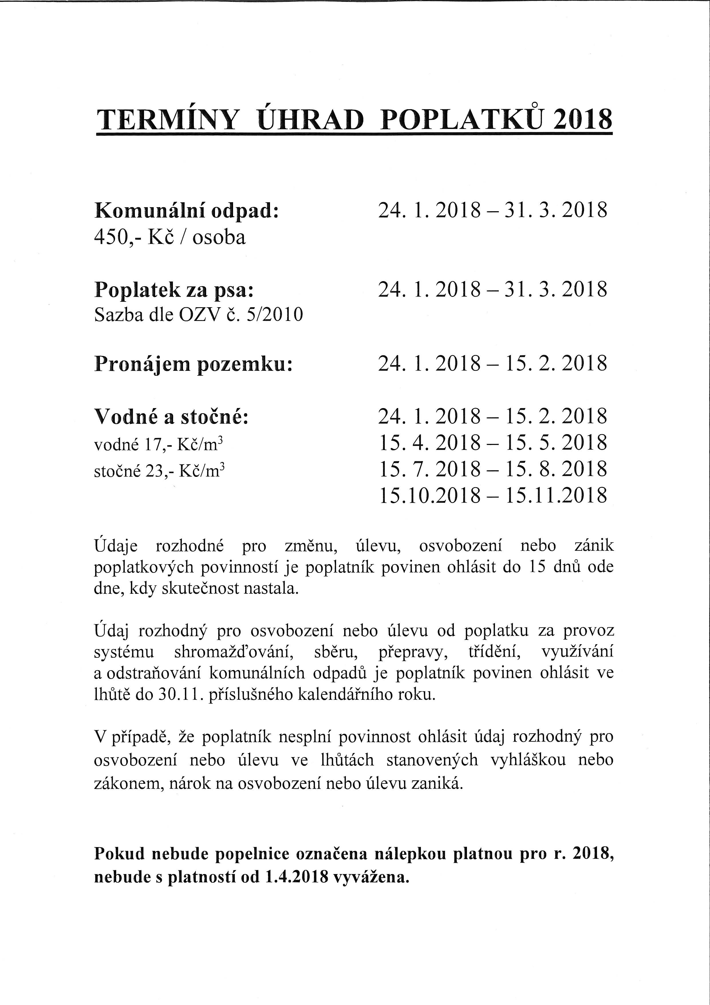Termíny úhrad poplatků 2018