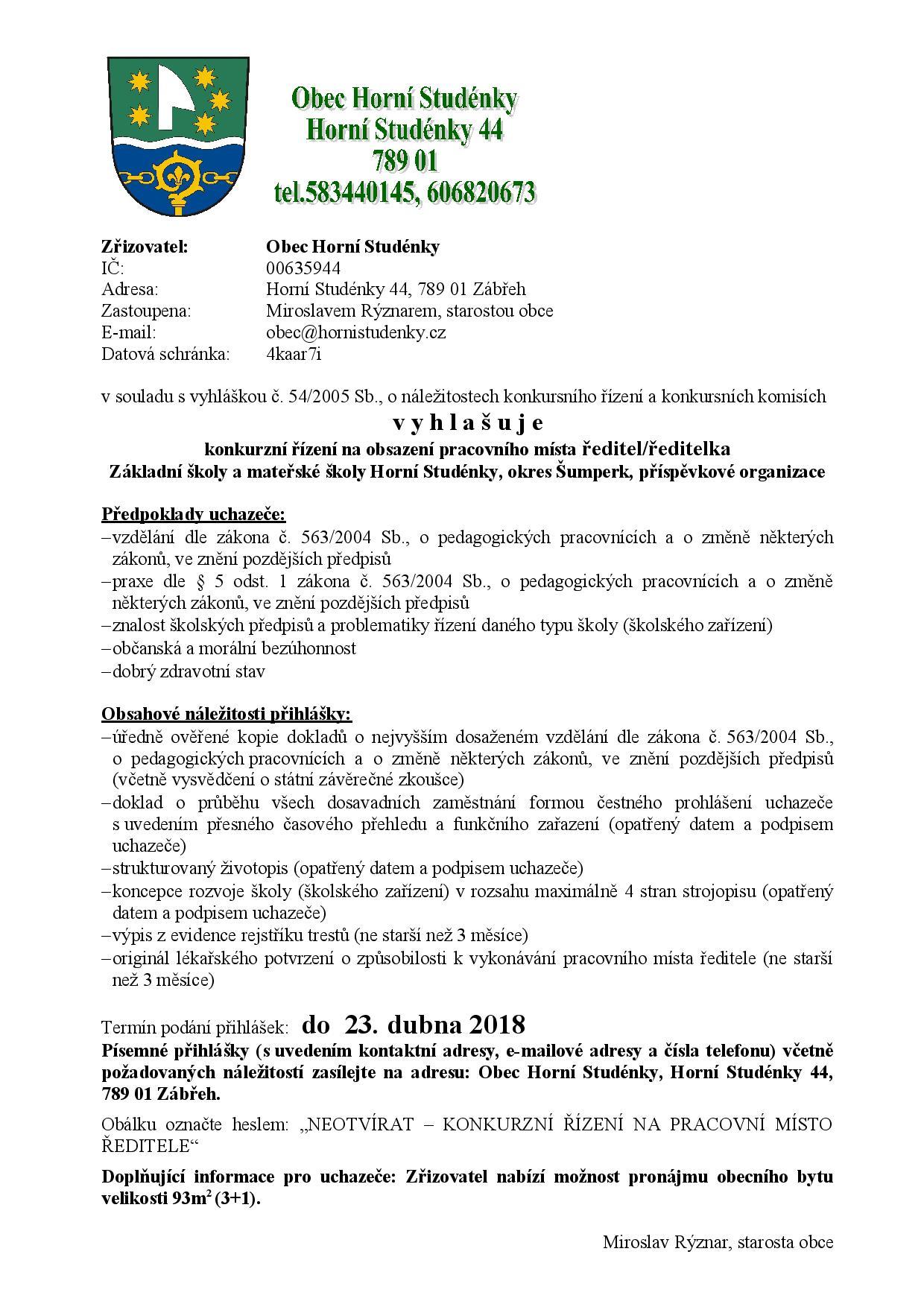 Konkurzní řízení - ředitel-ka ZŠ Horní Studénky_23.4..