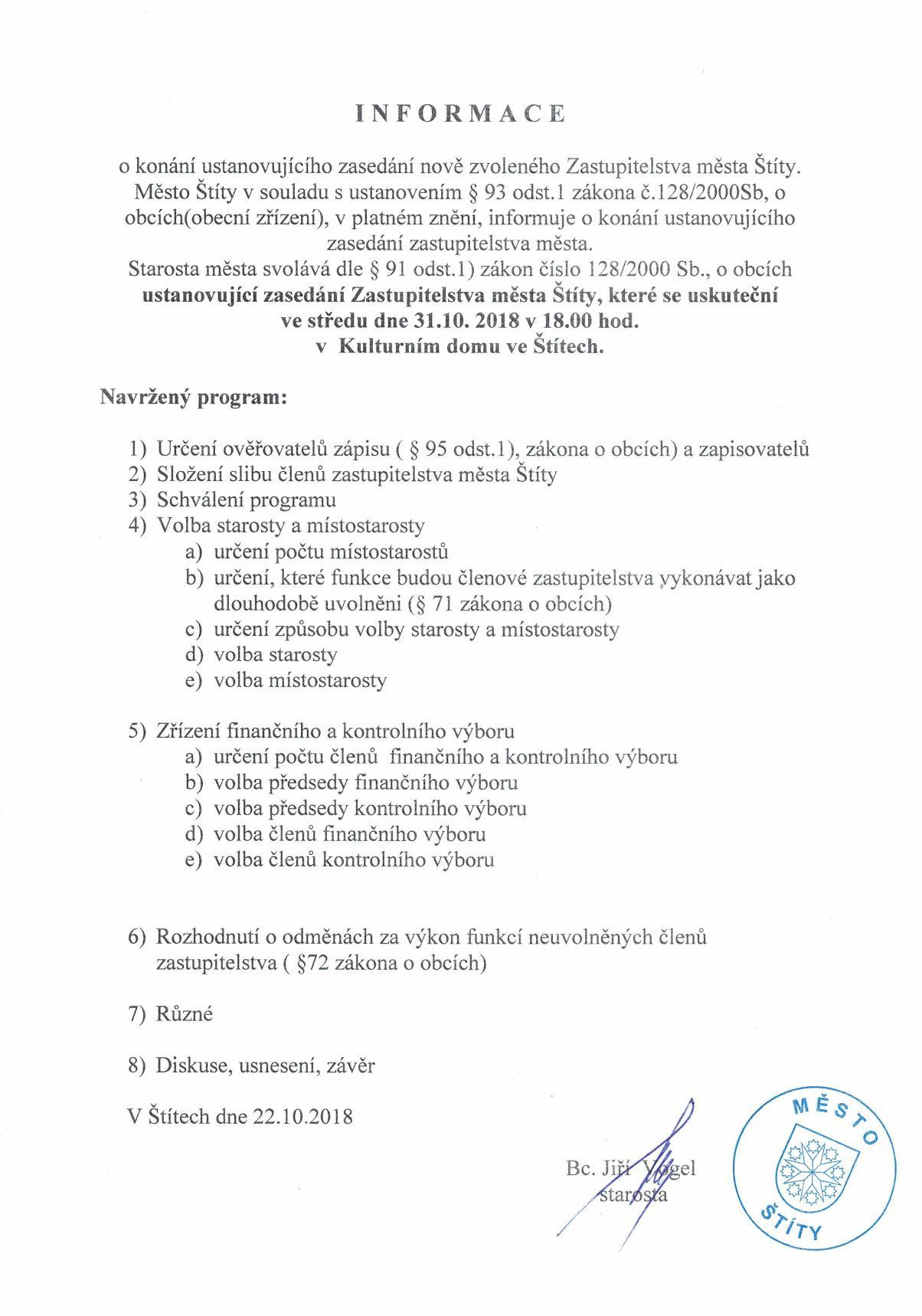 Informace o konání ustavujícího zasedání