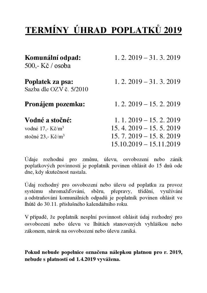 Termíny úhrad poplatků 2019